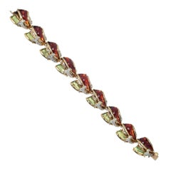 Diamond Multicolored Enamel Inlay Gold Bracelet
