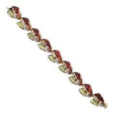 Diamond Multicolored Enamel Inlay Gold Bracelet