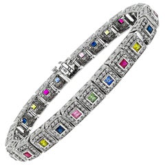Diamond Multicolored Sapphire Ruby Gold Bracelet