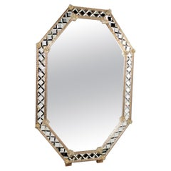 """Diamond"" Murano Glass Mirror Octagonal, Hand Made, Fratelli Tosi Made in Italy"