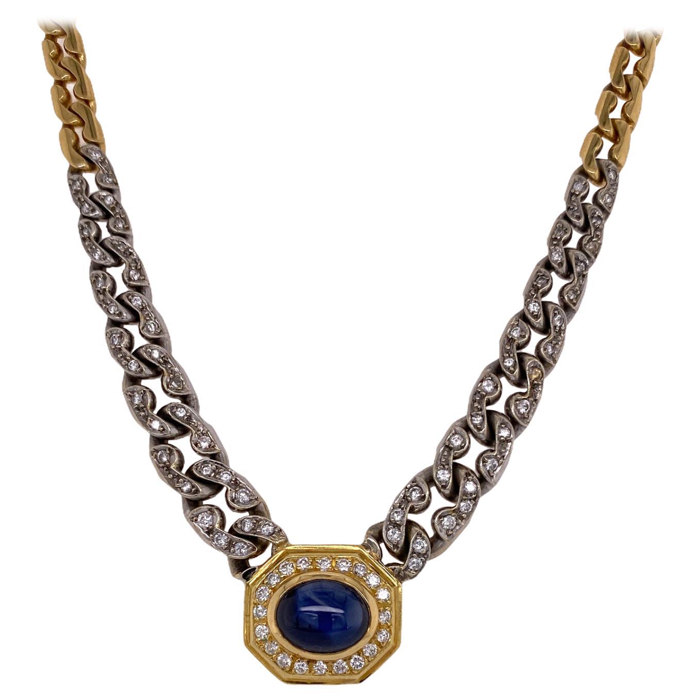 Diamond Natural Blue Cabochon Sapphire 18 Karat Two-Tone Pendant Link Necklace