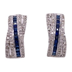 Diamond Natural Blue Sapphire 14 Karat White Gold Leverback Earrings