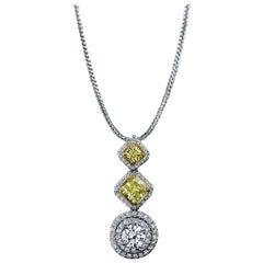 Diamond Natural Fancy Intense Yellow Radiant Round 3.13 Carat Necklace 18K GIA