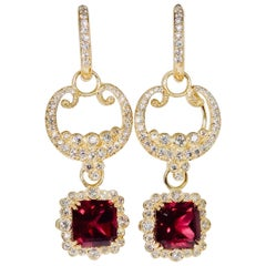 Diamond, Natural Garnet and 18 Karat Gold Earrings