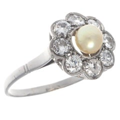 Diamond Natural Pearl Cluster Ring