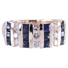Diamond & Natural Sapphire Band Ring  1.7 Tcw Sapphire .52 Tcw Diamonds 14K Yg