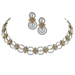 Diamond Necklace and Earring 18 Karat Two-Tone Gold Set