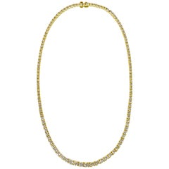 Diamond Necklace 11 Carat G/VS 18 Karat Yellow Gold Made in Italy