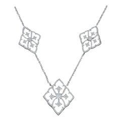 Diamond Necklace, 18 Karat White Gold Round Cut .75 Carat