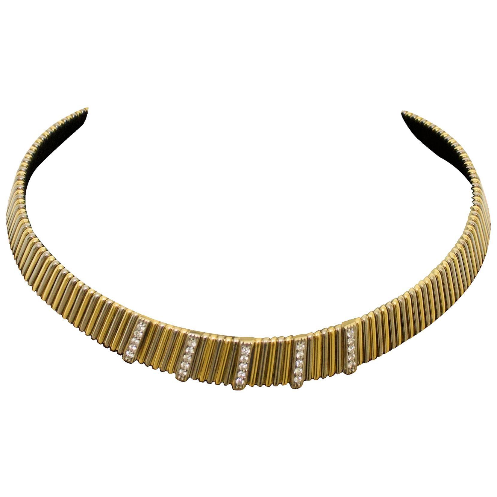 Diamond Necklace in 18 Karat Yellow Gold 3.8 oz