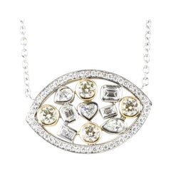 Diamond Necklace Multi-Color and Multi-Shaped in 14 Karat Gold