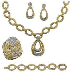 Diamond Necklace, Pendant, Bracelet, Earring and Ring Suite