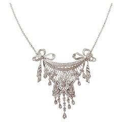 Diamond Necklace Set in 18 Karat White Gold Settings