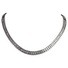 Diamond Necklace Set in 18 Karat White Gold Weighing 55.08 gms and 14.67 Carat