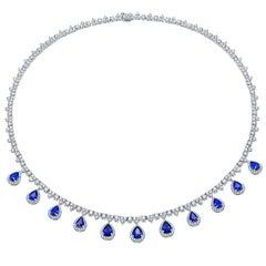 Diamond Necklace with Diamond Halo Sapphire Pears