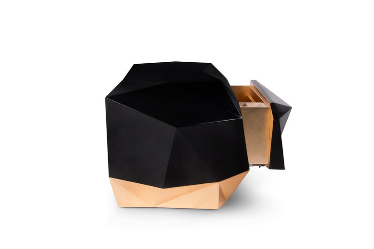 Modern Diamond Nightstand in Black Lacquered Wood and Gold Leaf Detail For Sale