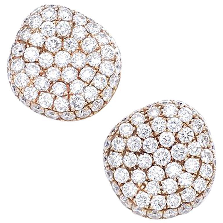 Diamond on Rose Gold Stud Earrings