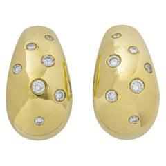 Diamond on Yellow Gold 18 Karat Ear Clips