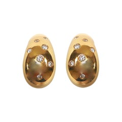 Diamond on Yellow Gold 18 Karat Ear Clips