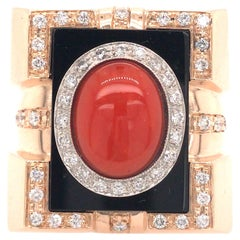 Diamond, Onyx and Coral Signet Ring in 14K Yellow Gold
