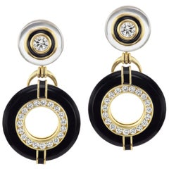 Diamond, Onyx, and Rock Crystal Earrings with Black Enamel in 18 Yellow Gold