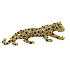 Diamond Onyx Emerald Gold Panther Brooch Pin