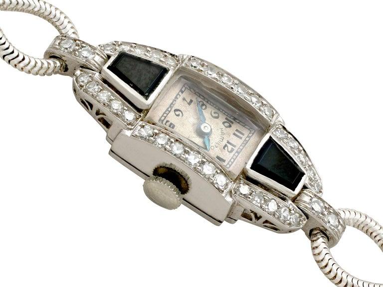 Round Cut Diamond Onyx Platinum Cocktail Watch by Hamilton For Sale