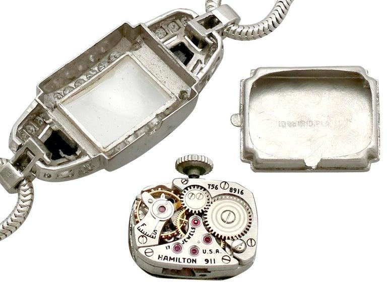 Diamond Onyx Platinum Cocktail Watch by Hamilton For Sale 1