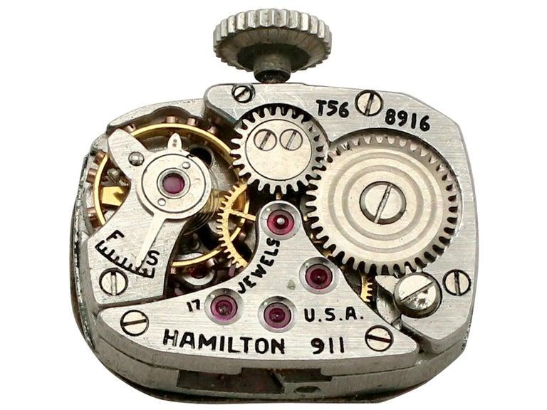 Diamond Onyx Platinum Cocktail Watch by Hamilton For Sale 2