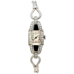 Diamond Onyx Platinum Cocktail Watch by Hamilton
