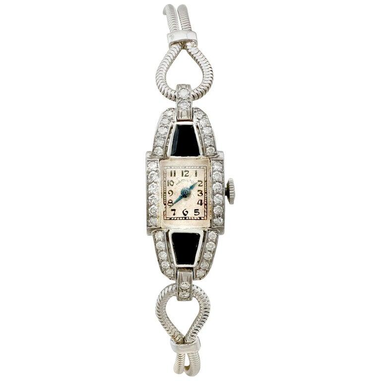 Diamond Onyx Platinum Cocktail Watch by Hamilton For Sale