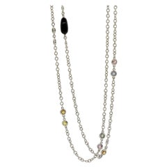 Diamond Onyx Sapphire Gold Chain Necklace