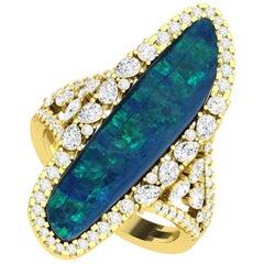 Diamond Opal 18 Karat Yellow Gold Ring