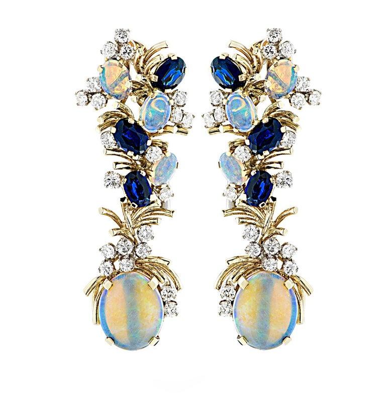 Modern Diamond Opal and Sapphire Dangle Earrings For Sale