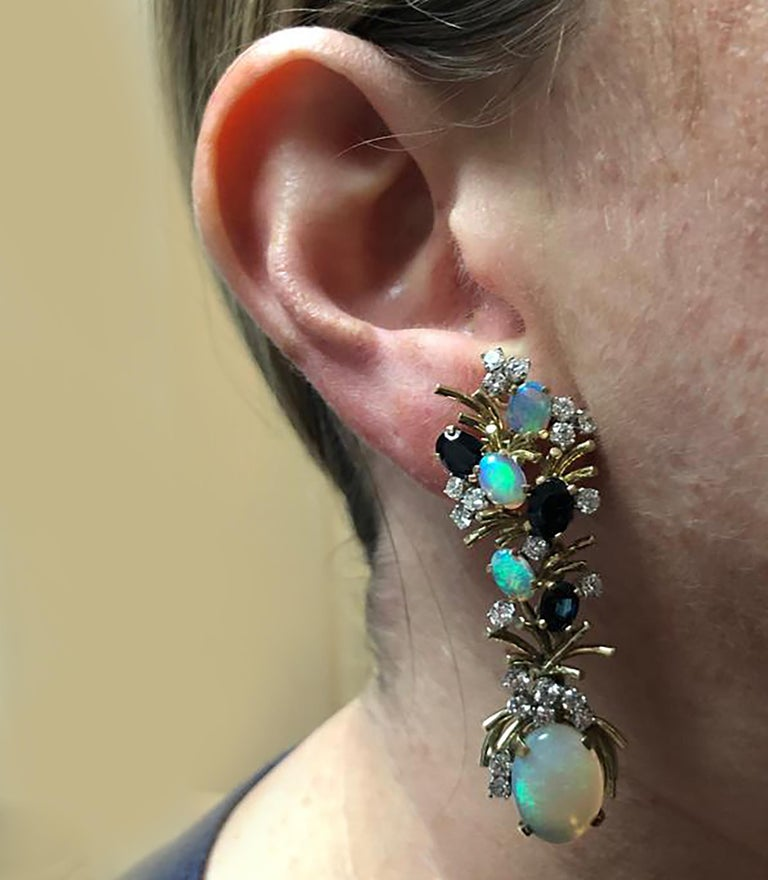 Diamond Opal and Sapphire Dangle Earrings In Good Condition For Sale In Miami, FL