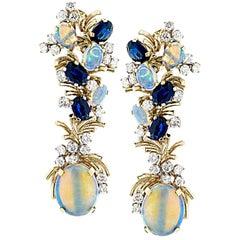 Diamond Opal and Sapphire Dangle Earrings