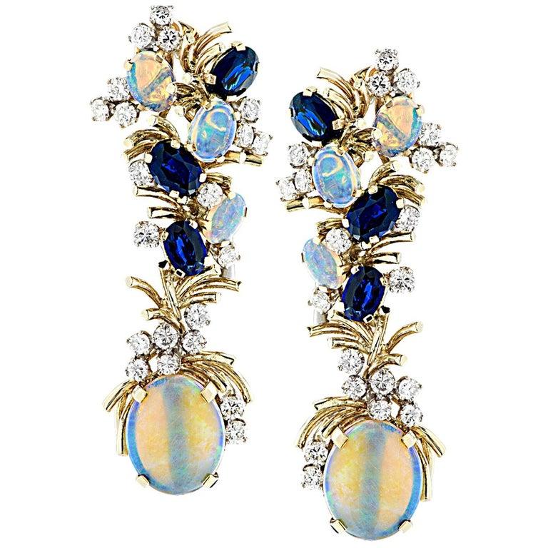 Diamond Opal and Sapphire Dangle Earrings For Sale