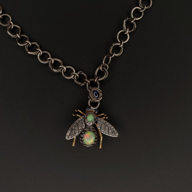 Victorian Fly Brooch & Pendant with Diamonds Opals & Sapphires For Sale 7