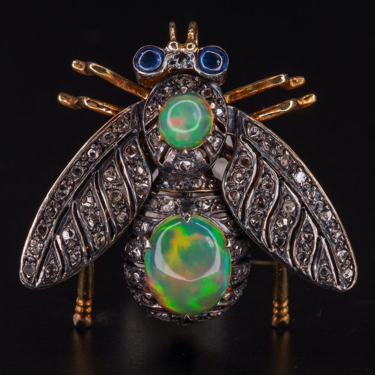 Victorian Fly Brooch & Pendant with Diamonds Opals & Sapphires For Sale 8