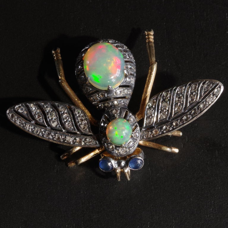 Victorian Fly Brooch & Pendant with Diamonds Opals & Sapphires In Good Condition For Sale In Southbury, CT