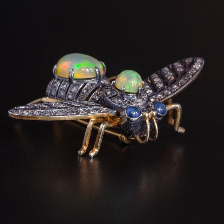 Women's or Men's Victorian Fly Brooch & Pendant with Diamonds Opals & Sapphires For Sale