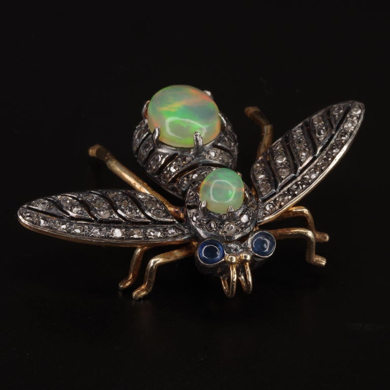 Victorian Fly Brooch & Pendant with Diamonds Opals & Sapphires For Sale 1