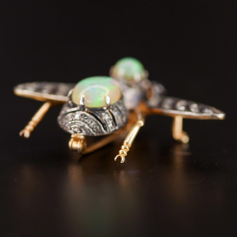 Victorian Fly Brooch & Pendant with Diamonds Opals & Sapphires For Sale 2
