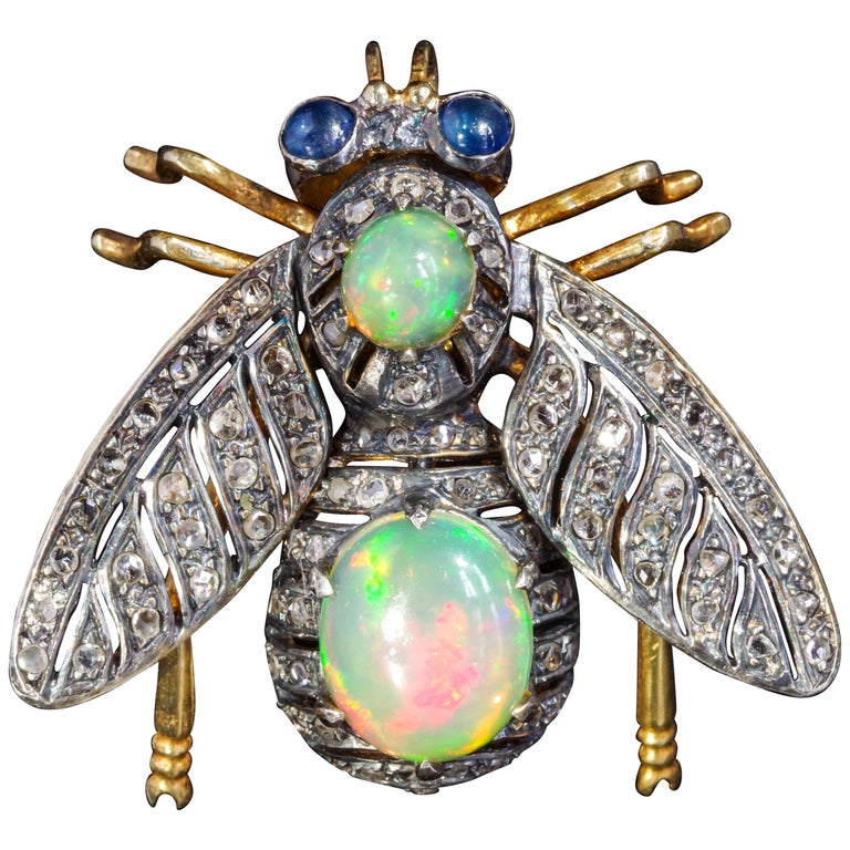 Victorian Fly Brooch & Pendant with Diamonds Opals & Sapphires For Sale