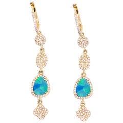 Diamond & Opal Earring Dangles 14 Karat Gold 2.25 Carat Opal & Diamond Earrings
