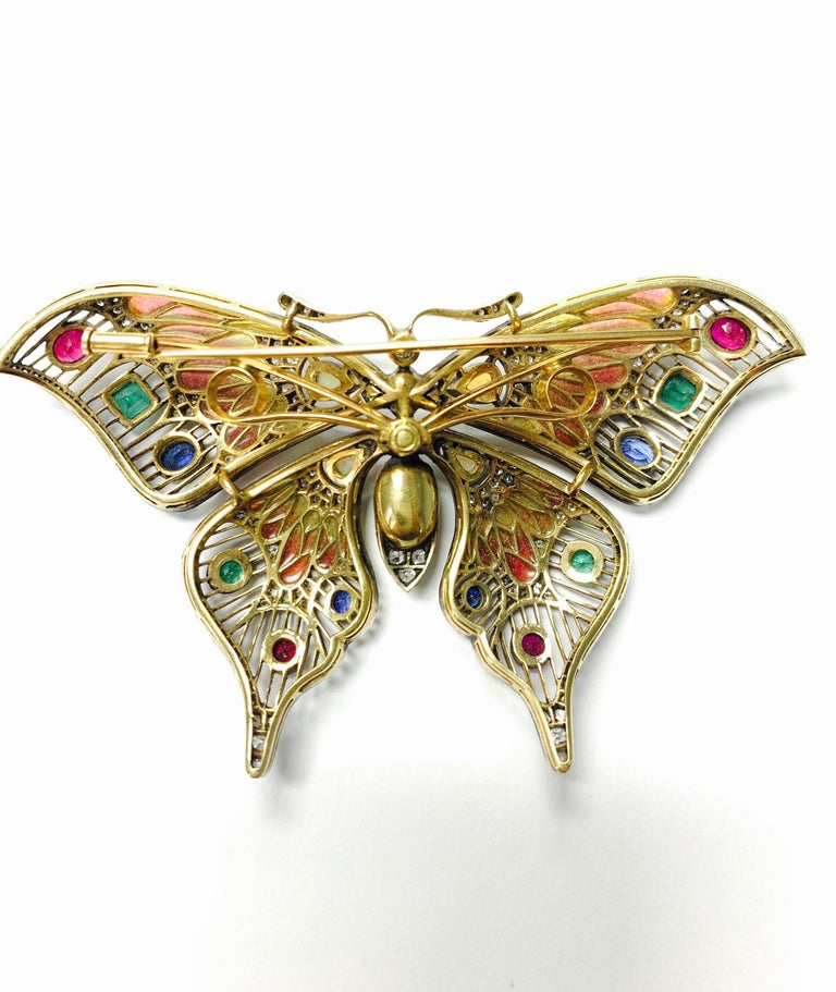 Diamond, Opal, Emerald, Blue Sapphire and Rubies Butterfly Brooch For Sale 5