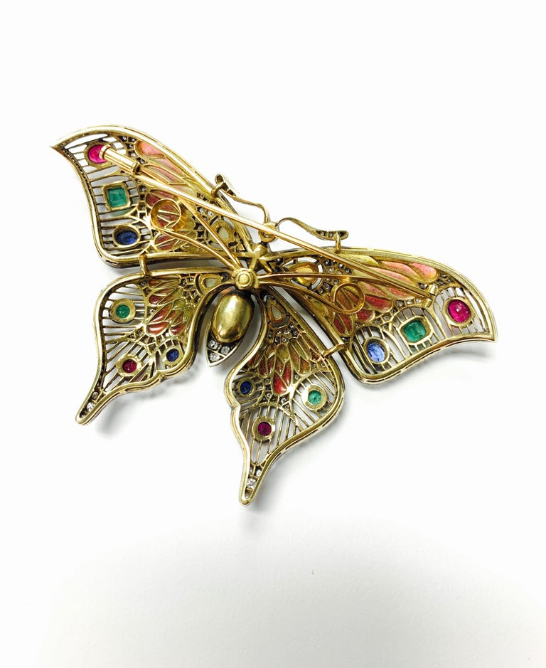 Diamond, Opal, Emerald, Blue Sapphire and Rubies Butterfly Brooch For Sale 6