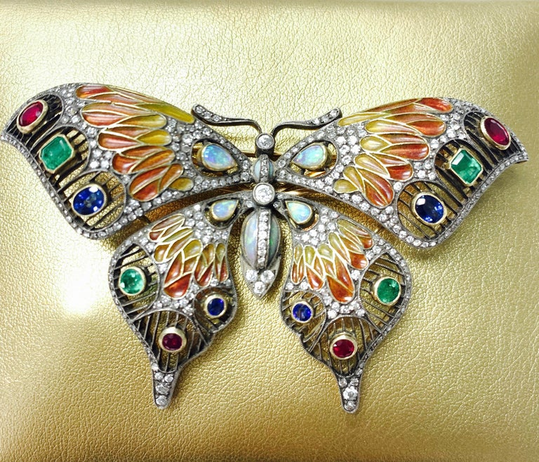 Diamond, Opal, Emerald, Blue Sapphire and Rubies Butterfly Brooch For Sale 7