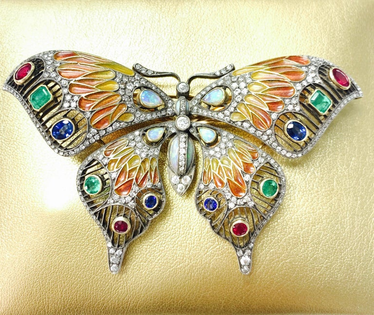 Diamond, Opal, Emerald, Blue Sapphire and Rubies Butterfly Brooch For Sale 8