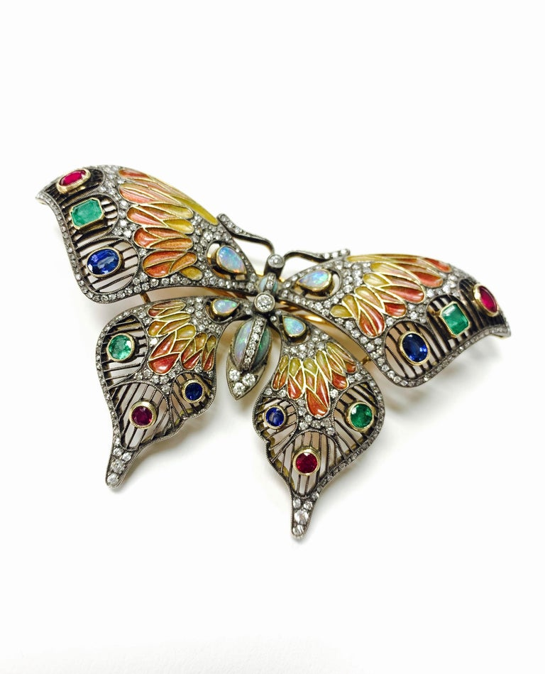 Oval Cut Diamond, Opal, Emerald, Blue Sapphire and Rubies Butterfly Brooch For Sale